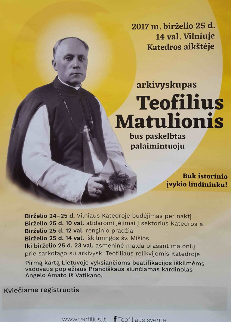 Kviečiame registruotis į garbingojo Teofiliaus Matulionio beatifikaciją